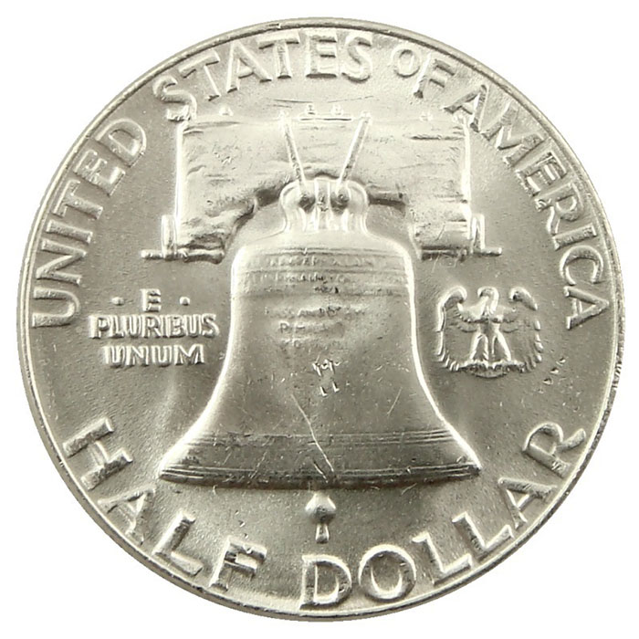 1957 P Franklin Half Dollar Coin Reverse