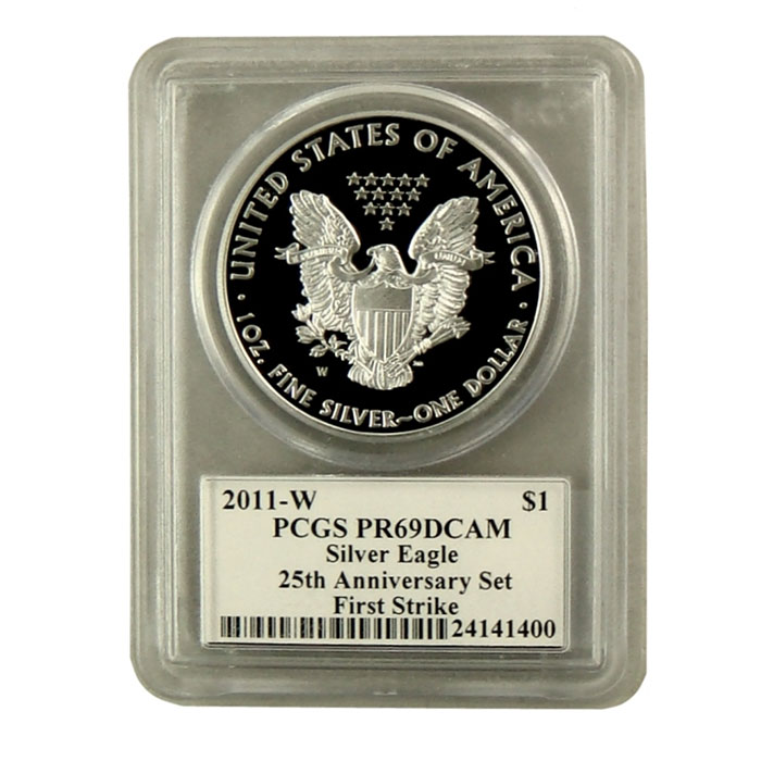 2011-W 25th Anniversary Silver Eagle PCGS First Strike PR-69DCAM | Mercanti Signed Black Label-6783