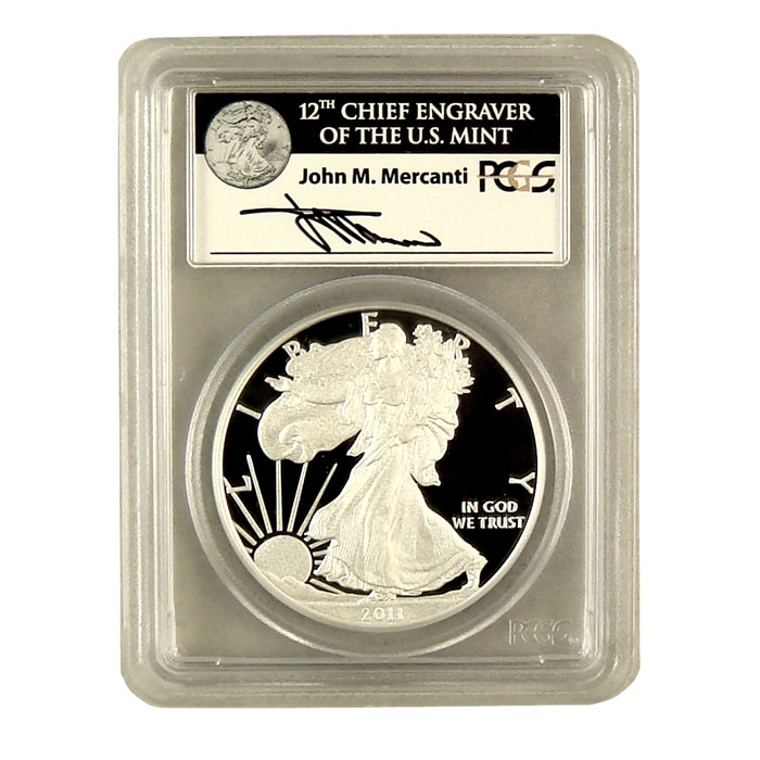 2011-W 25th Anniversary Silver Eagle PCGS First Strike PR-70DCAM | Mercanti Signed Black Label-0