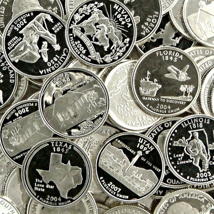 90% Silver Proof State Quarters | $1 Face Value | .723 Troy Ounces-0