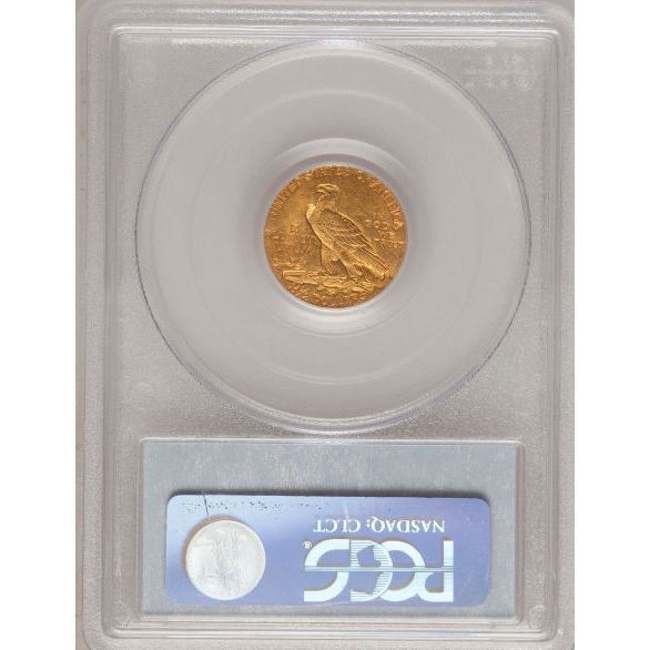 $2.50 Indian Head PCGS MS62 Gold Quarter Eagle Coin Reverse