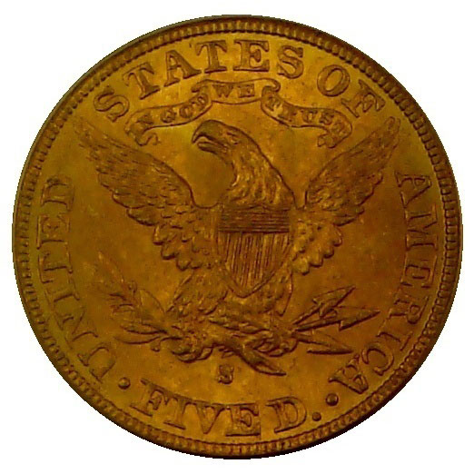 $5 Liberty PCGS MS62 Gold Half Eagle Coin Reverse