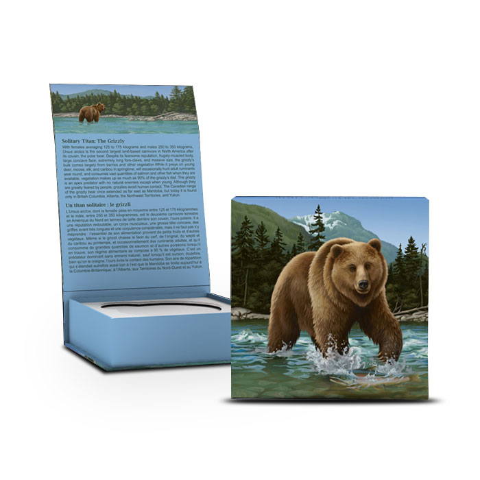 2014 1 ounce Canadian Silver $100 The Grizzly Box