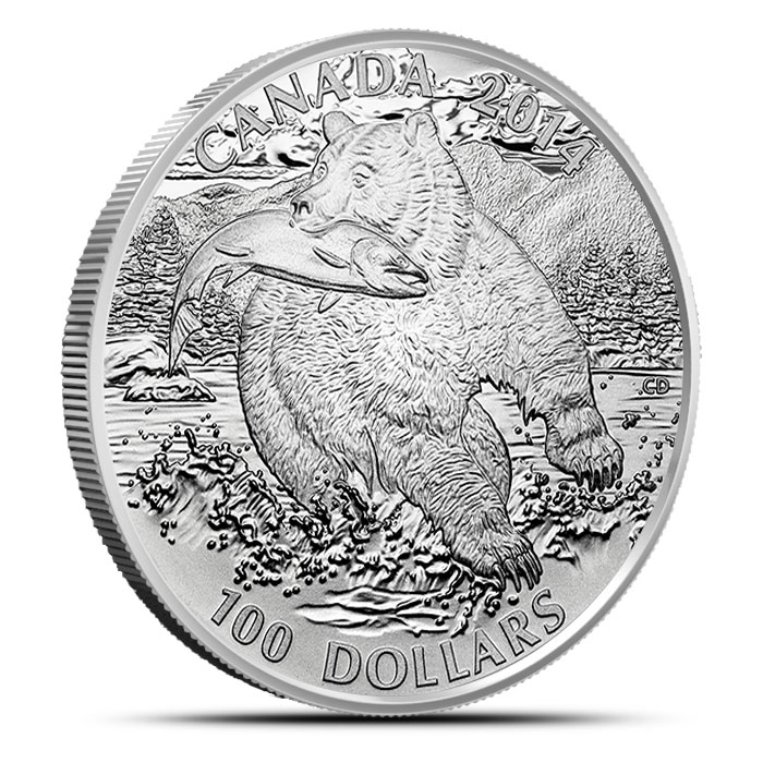 2014 1 oz Canadian Silver $100 The Grizzly Obverse