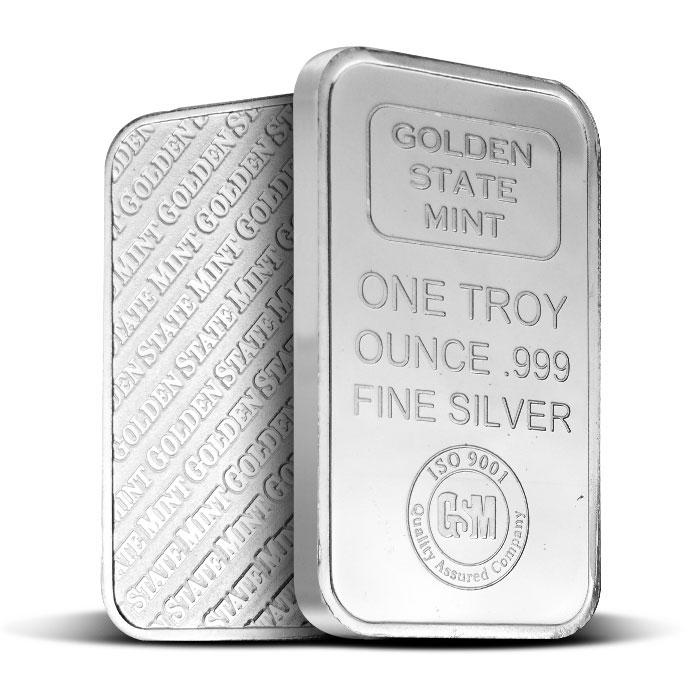 Golden State Mint 1 oz Silver Bar Front & Back