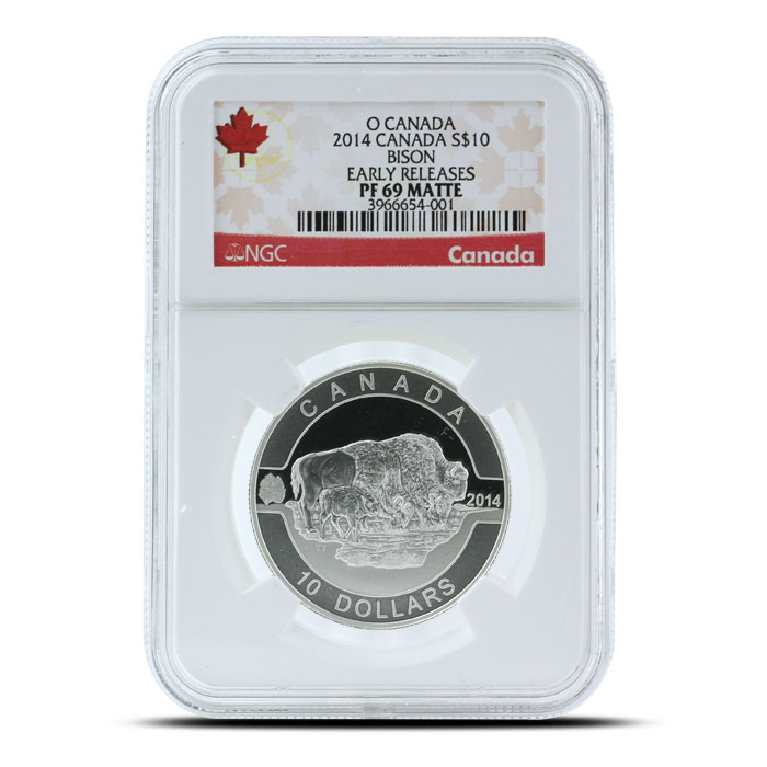 2014 1/2 oz $10 Silver Bison | O Canada Series NGC-PF69 Obverse