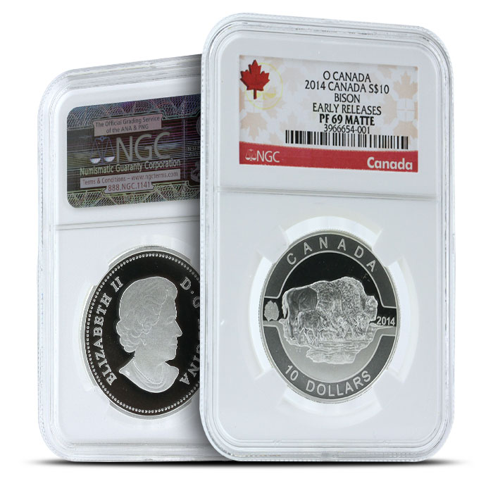 2014 1/2 oz $10 Silver Bison | O Canada Series NGC-PF69
