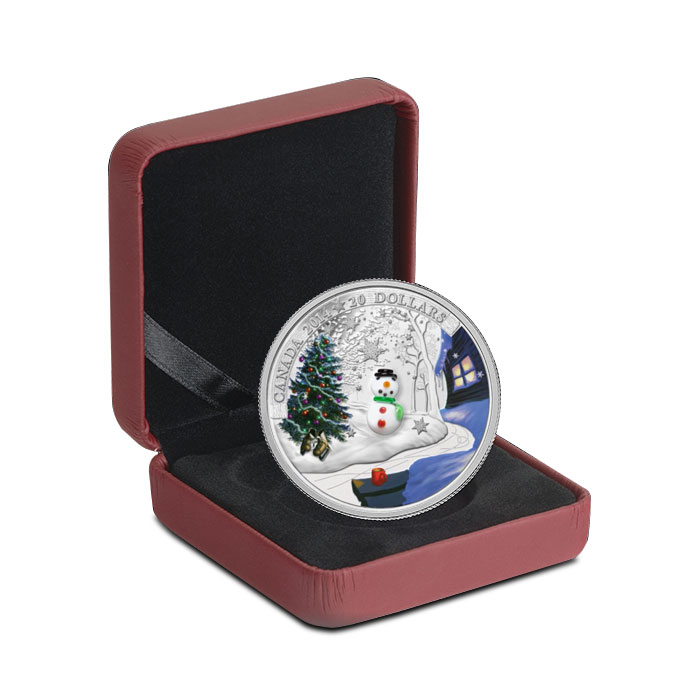 2014 $20 1 oz Proof Silver Canadian Snowman Box