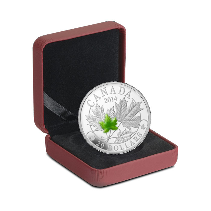 2014 1 oz $20 Silver Majestic Maple Leaves with Jade Clamshell