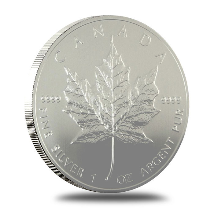 1996 1 oz Canadian Silver Maple Leaf Bullion Coin Reverse