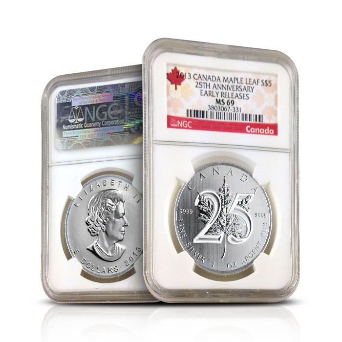 2013 Canadian Maple Leaf 25th Anniversary Early Releases | NGC MS69