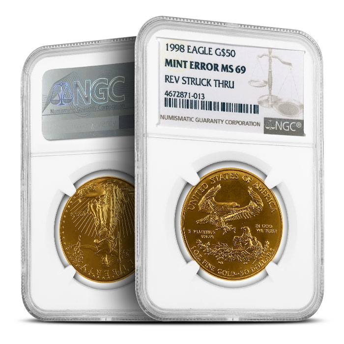 Mint Error 1998 1 oz American Gold Eagle | NGC MS69