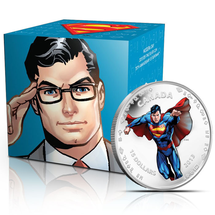 2013 Modern Day Superman Half Ounce Silver $15 Canadian Coin & Graphic Box