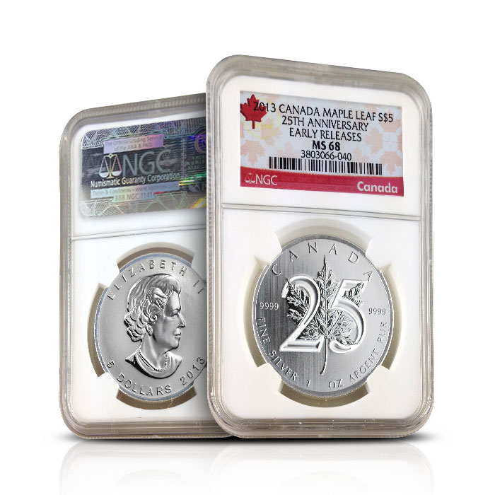 2013 Canadian Maple Leaf 25th Anniversary Early Releases | NGC MS68