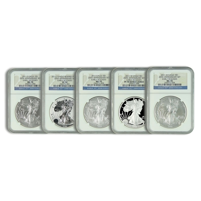 NGC Early Release MS/PR-70 2011- 25th Anniversary Silver Eagle 5 Coin Set