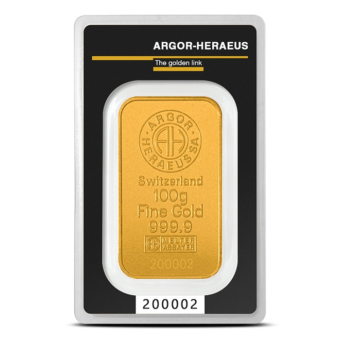 Argor 100 gram Gold Bar in Assay Card