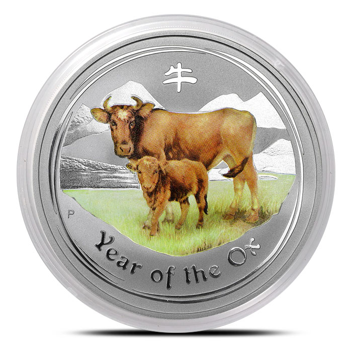 2009 Australia 5 oz Silver Year of the Ox Colorized