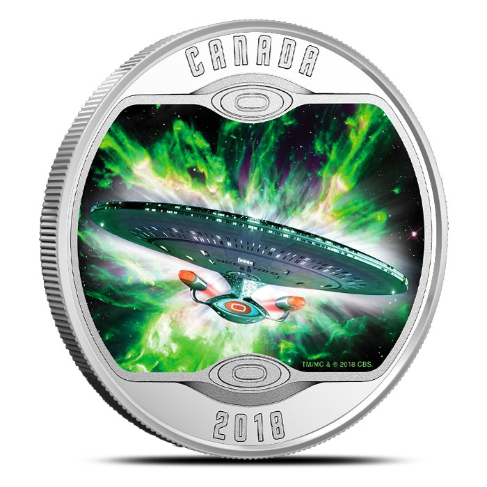 2018 Star Trek Enterprise Glow-In-The-Dark Silver Coin