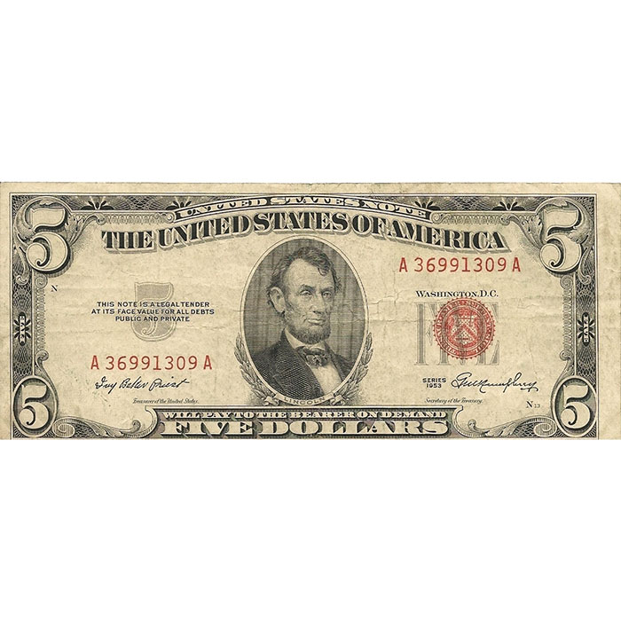 Small Size $5 Legal Tender US Note Front