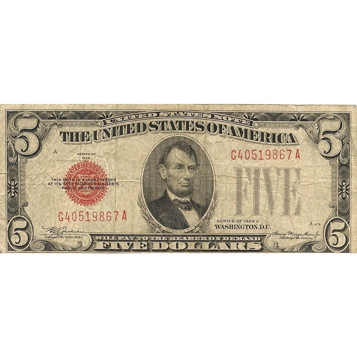 Circulated Small Size 1928 $5 Legal Tender US Note Front