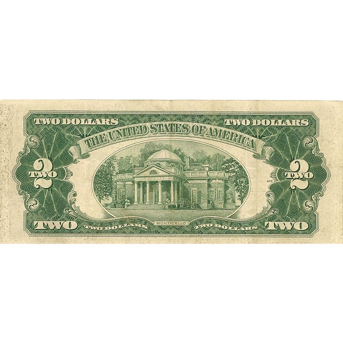 Circulated Small Size 1953-63 $2 Legal Tender US Note Reverse