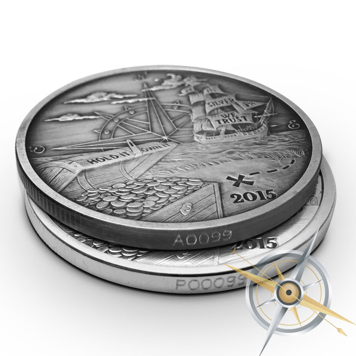 2015 Finding Silverbugs Island 1 oz Proof and Antiqued Silver Round Set