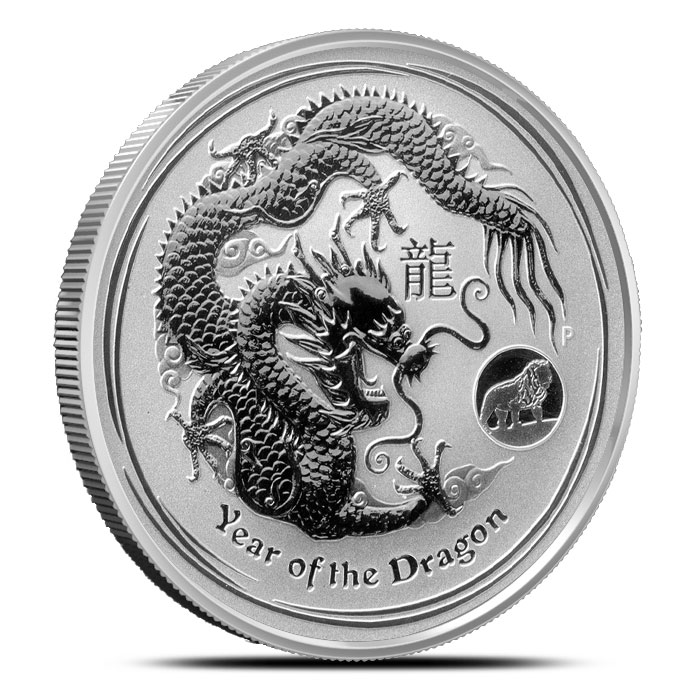 2012 1 oz Silver Year of the Dragon | Lion Privy | Perth Mint