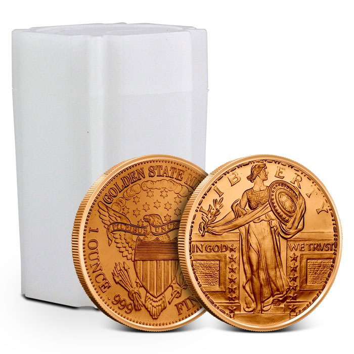 Lot of 100-1 oz Copper Round Standing Liberty