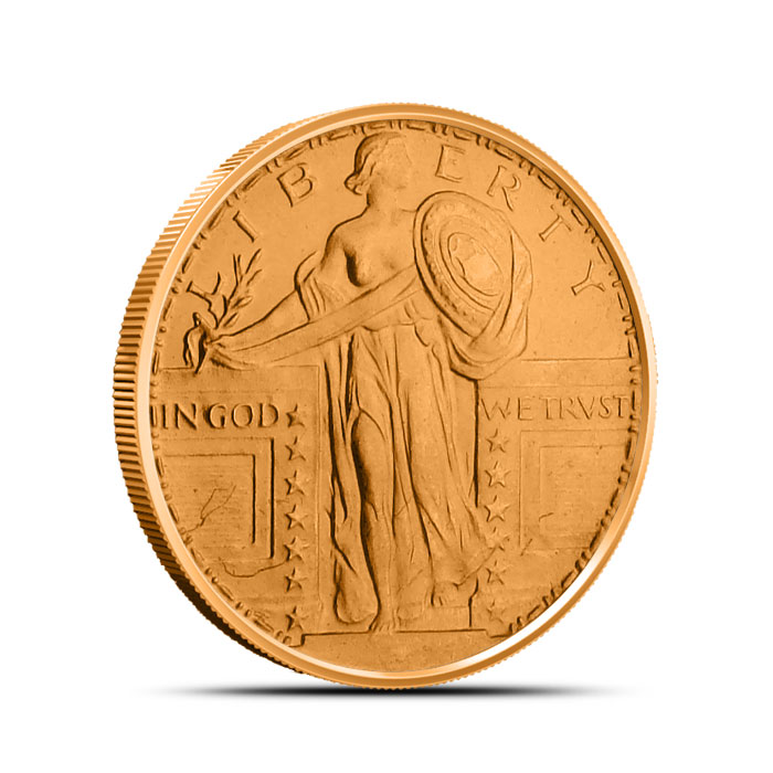 Standing Liberty 1/2 oz Copper Round Obverse