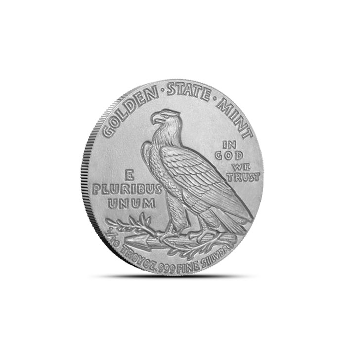 Tenth Ounce Incuse Indian Fractional Silver Rounds