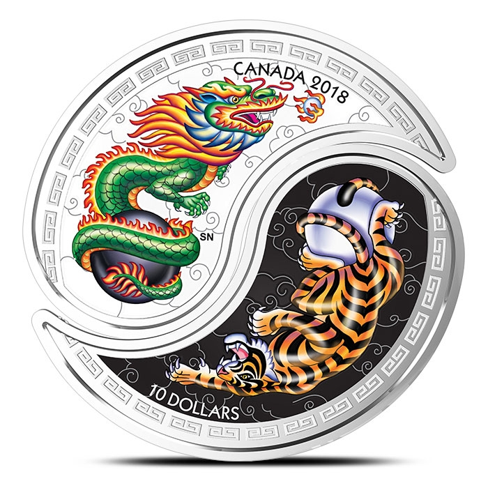 2018 Tiger & Dragon Yin & Yang 1 oz Silver Coin