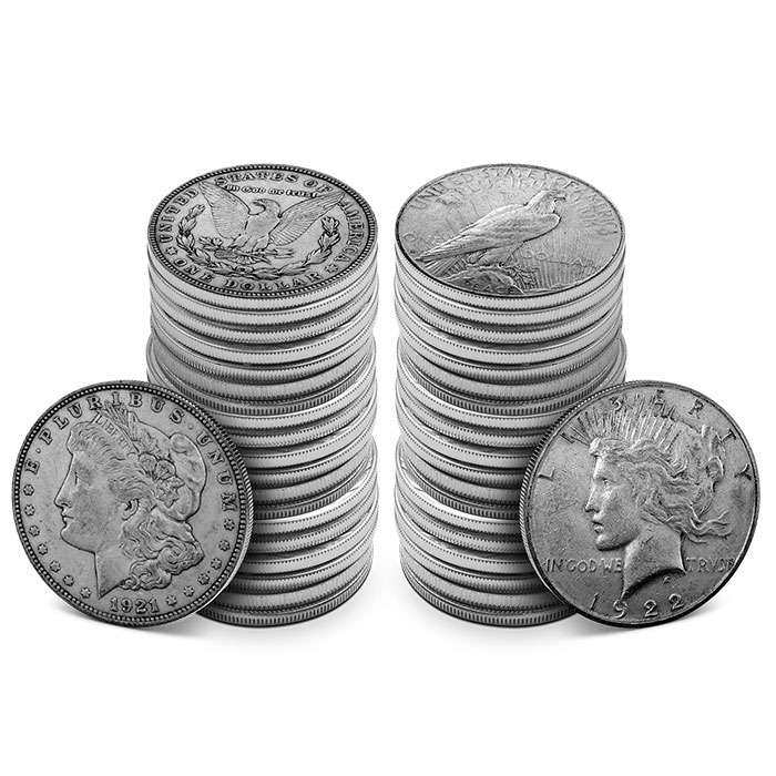 Wholesale Prices! 90/% Silver 1922-P Peace Silver Dollar BU Roll