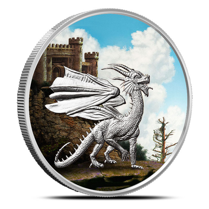 Welsh Red Dragon 1 oz Colorized Silver | Celtic Lore Series