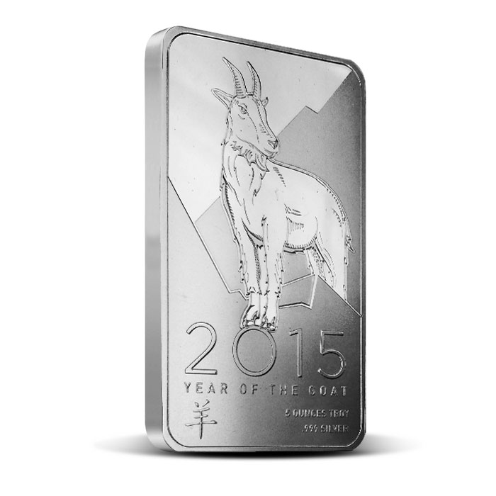 2015 OPM 5 oz Silver Year of the Goat Bar